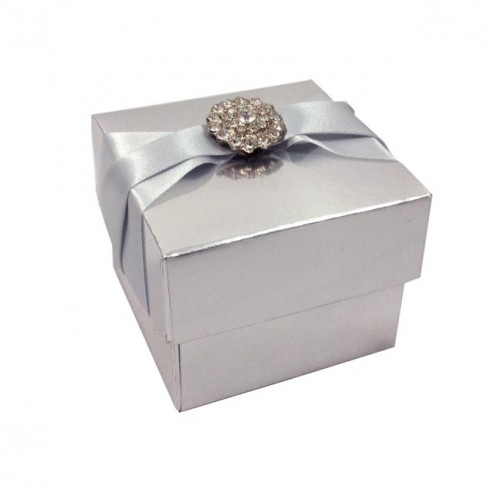 Metallic silver favor boxes
