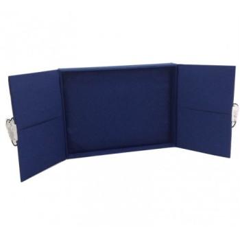 Blue wedding invitations with silk