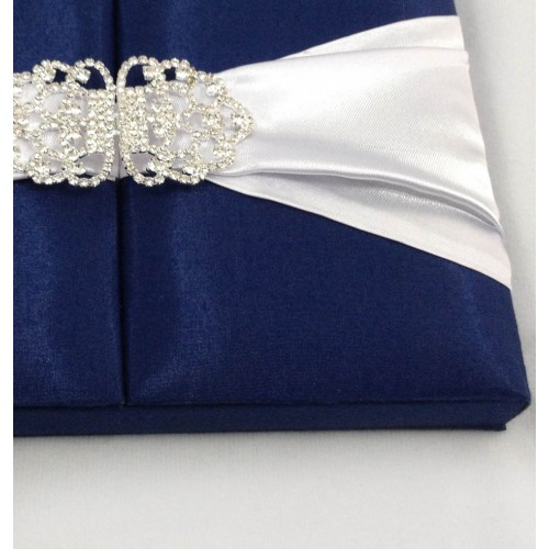 MIDNIGHT BLUE SILK WEDDING INVITATION BOX WITH CRYSTAL