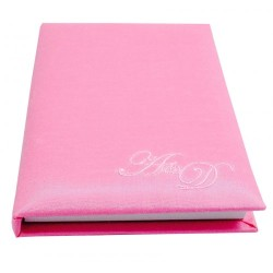 Monogram embroidered silk mini notebook in pink