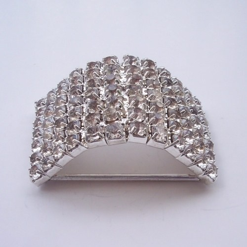 Modern silver rhinestone buckle wedding embellishment