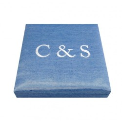 jeans blue monogram embroidered silk wedding invitation box