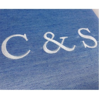 Detail view of monogram embroidery