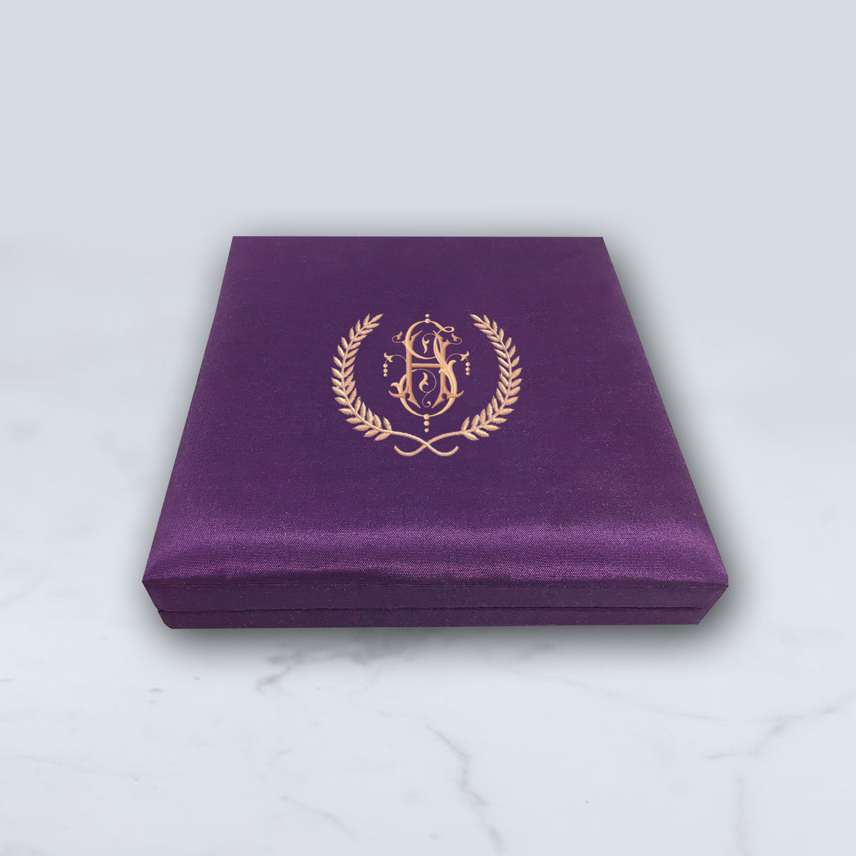 Monogram embroidered purple silk invitation box