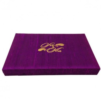 Monogram embroidered dupioni silk wedding invitation box