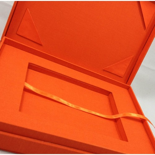 Luxury linen velour leather jewelry box featuring rosegold logo orange display box custom made orange cotton packging box inside stopboris Image collections