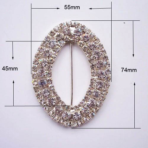 oval crystal buckle