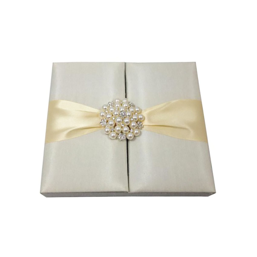 ivory pearl brooch silk wedding box for cards