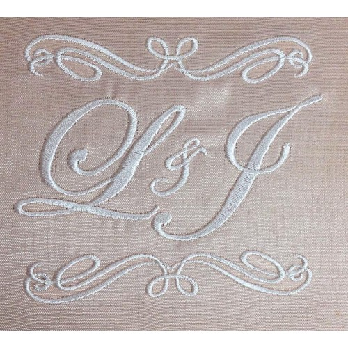 Ivory monogram embroidery