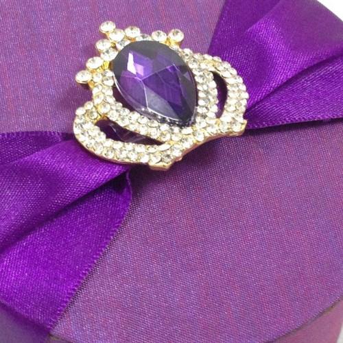 Crown brooch embellishment with rhinestone crystal