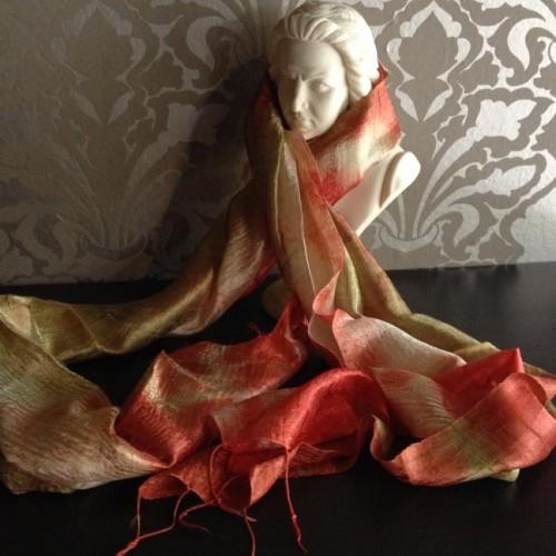 Thai raw silk shawl, hand-woven in Chiang Mai