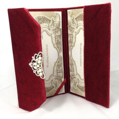 Luxury velvet invitation in red with pearl crown brooch