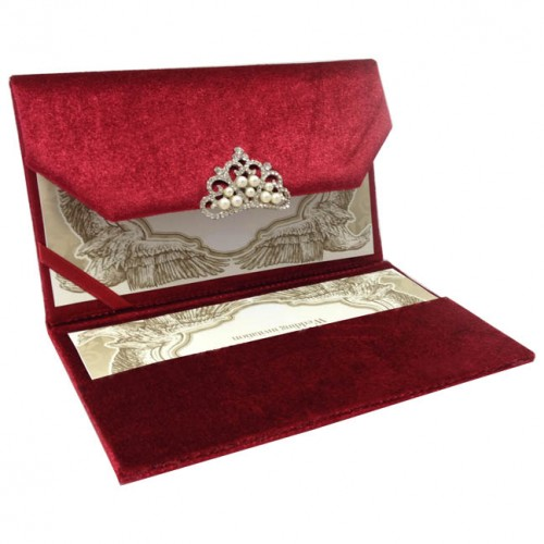 Red couture velvet invitation with luxury pearl crystal crown opened velvet envelope showing pearl brooch and invitation card placed in its pocket holder stopboris