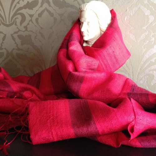 red raw silk shawl