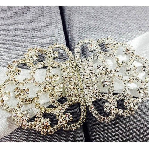 Large silver rhinestone crystal clasp wedding embellishment