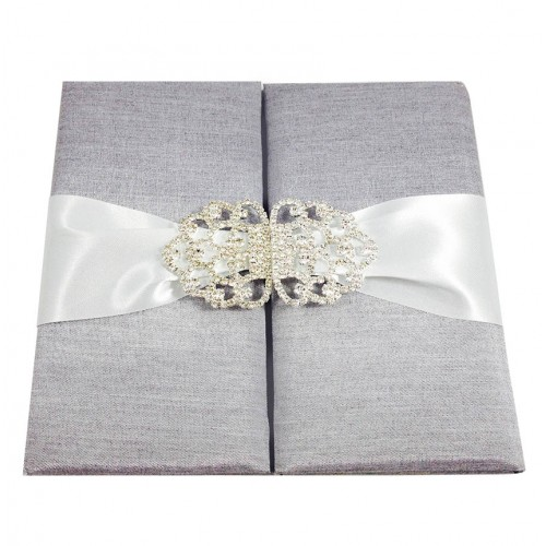 Silver Silk Covered Gate Fold Invitation With A Large