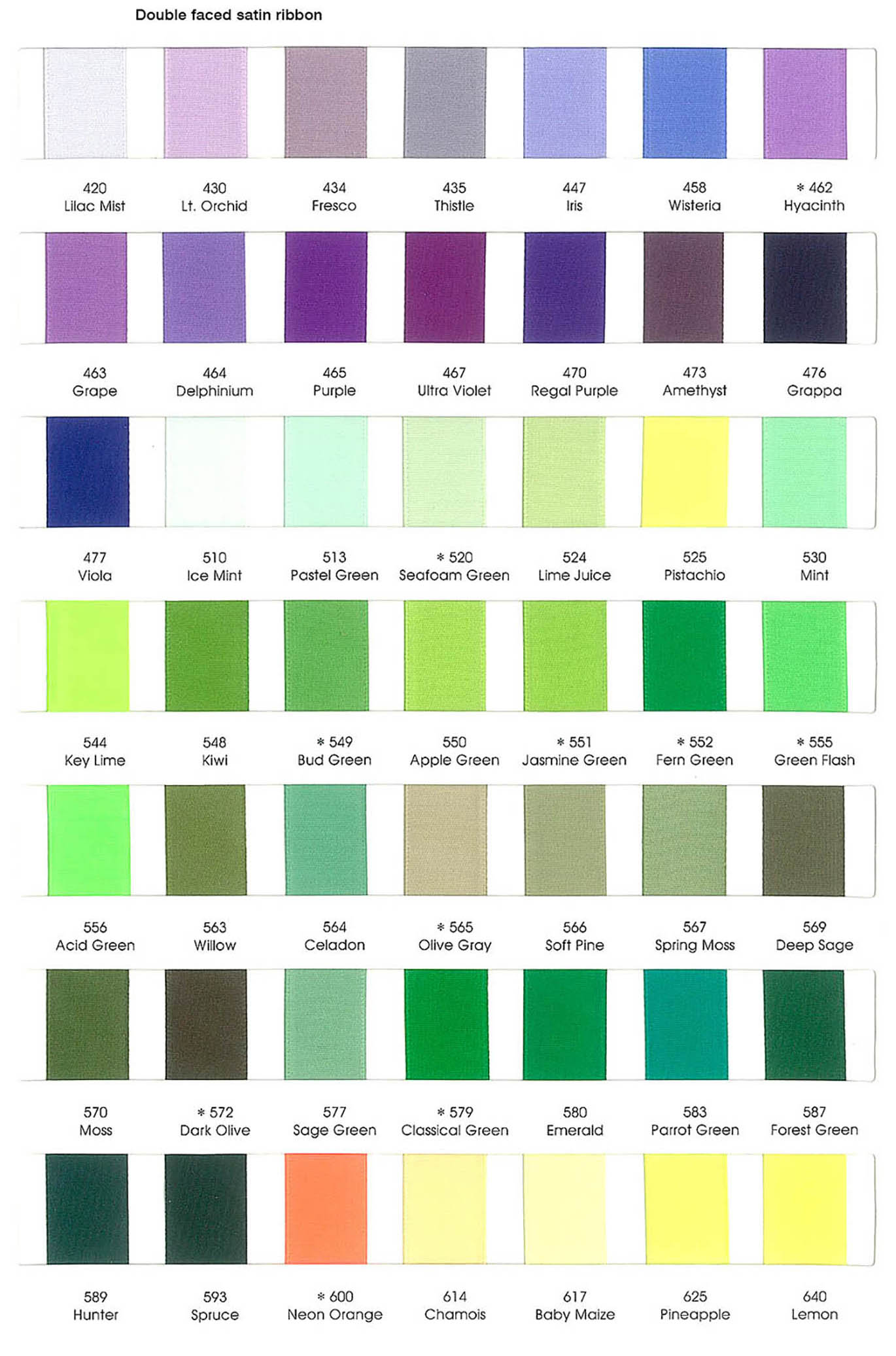 Ribbon Color Chart 01