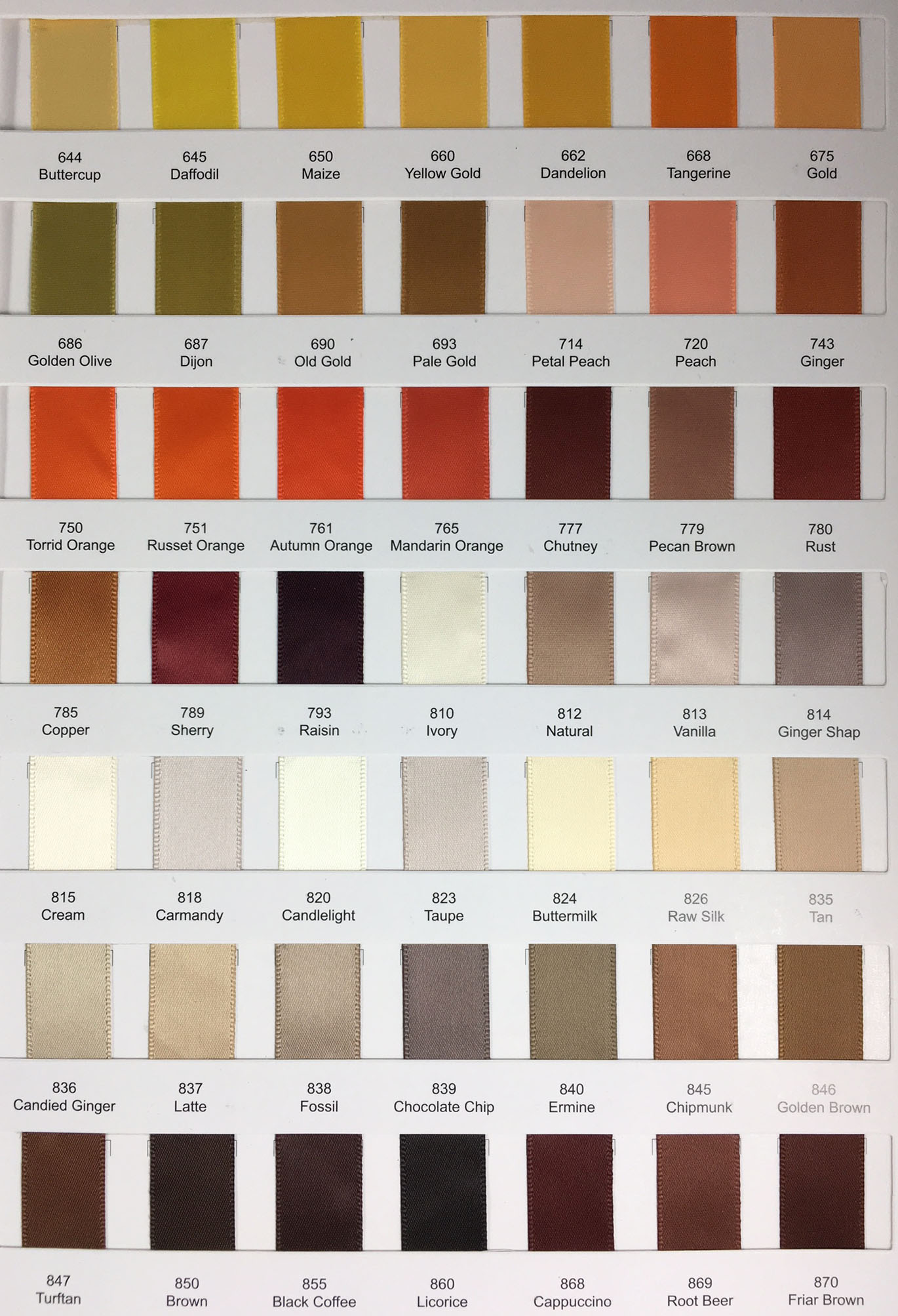 double faced satin ribbon color chart