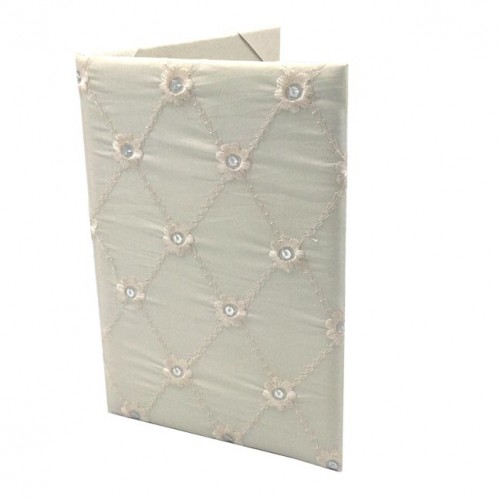 Sequences wedding folio with ivory taffeta silk