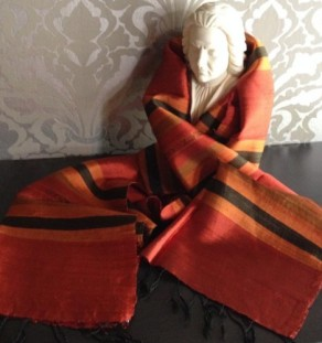 Traditional Thai silk shawl, mudmee pattern in dark orange and brown
