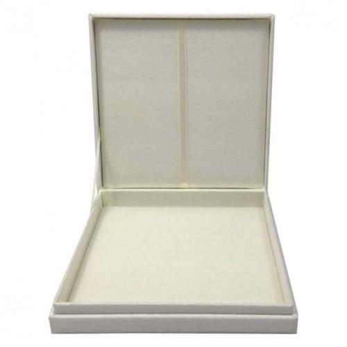 PLAIN FAUX SILK WEDDING INVITATION BOX WITH HINGED LID