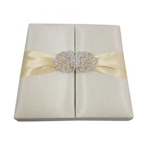 Silk Invitation Box In Ivory With Crystal Clasp Luxury Wedding