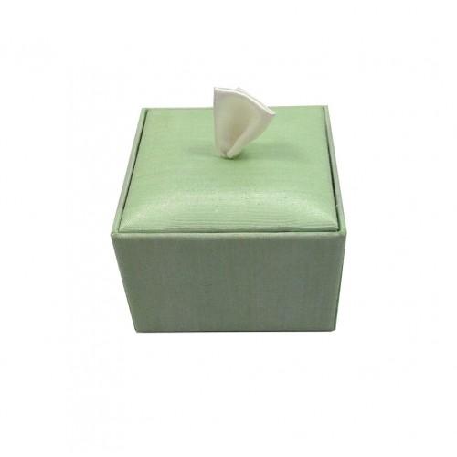 Mint green silk favor box