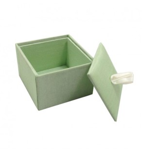 Light mint green wedding favor box with ribbon holder