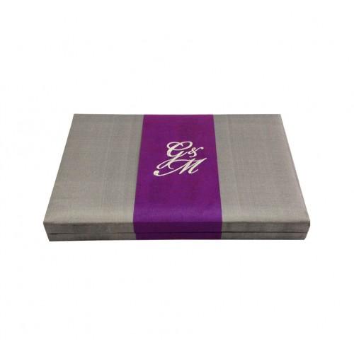 Silk box for invitations with embroidery on silk stripe  sc 1 st  Dennis Wisser & MONOGRAM EMBROIDERED SILVER WEDDING INVITATION BOX - Luxury ... Aboutintivar.Com