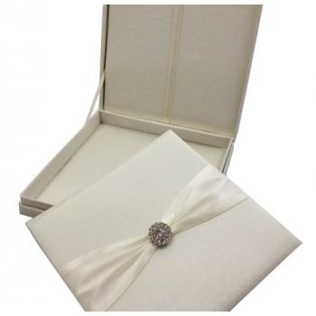 Embellished silk insert inside a silk box for wedding invitations