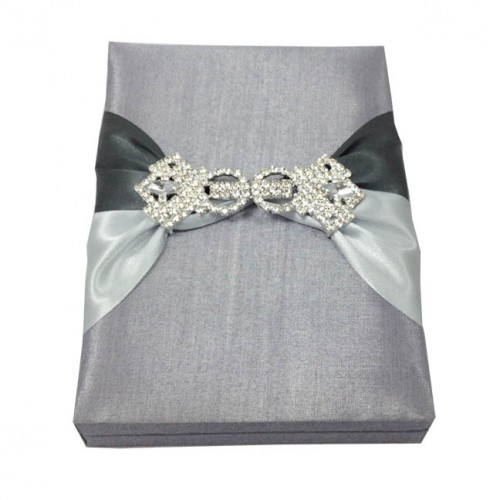 Silver boxed wedding invitation