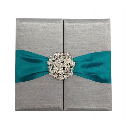 silver wedding folder with teal ribbon