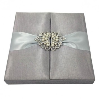 Crown brooch embellished silk wedding invitation boxes