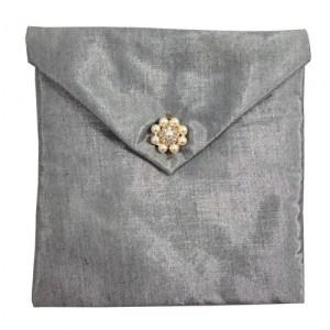 silver silk envelope