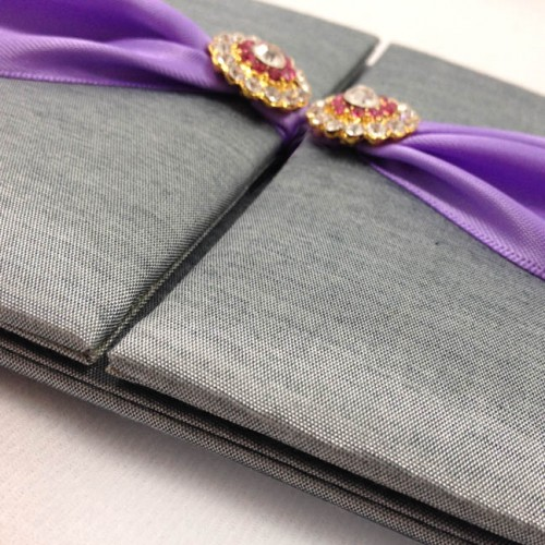 Luxury silver silk wedding folder