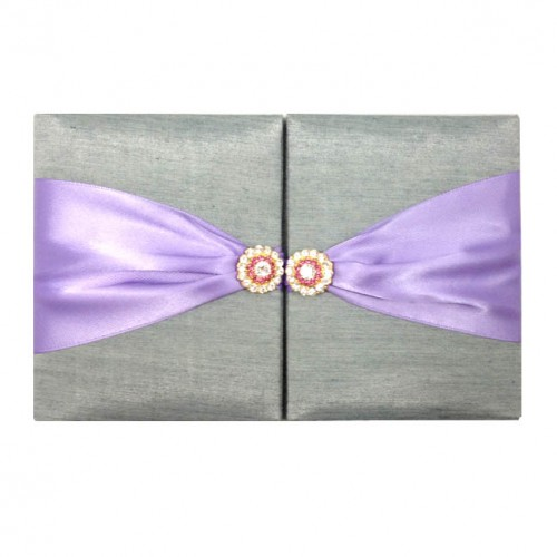 Silver silk folio with lavender ribbon and gold crystal button