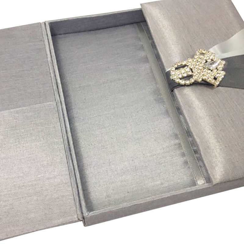 silver gatefold wedding invitation box with brooch