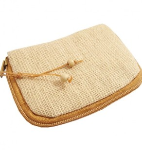 Small zippered hemp keychain pouch