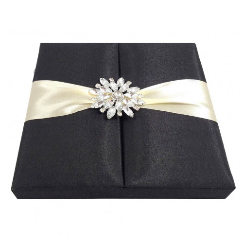 embellished black invitation box