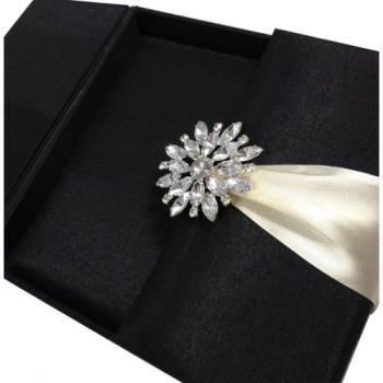 Opened embellished wedding invitation box