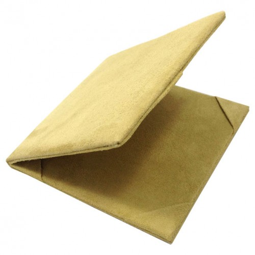Opened light green folder covered with suede textile