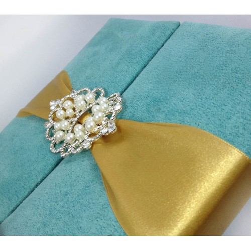 LUXURY TURQUOISE SUEDE WEDDING INVITATION BOX WITH PEARL CROWN