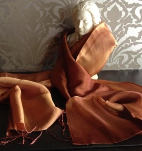 Bronze color taffeta silk shawl with two tone design