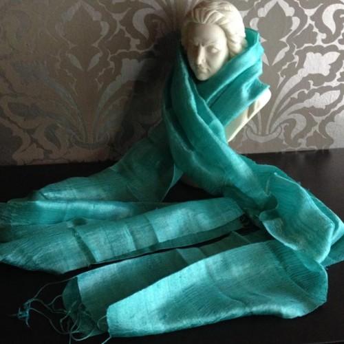 Raw silk shawl in turquoise