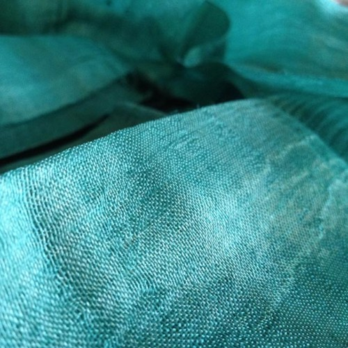 Turquoise raw silk