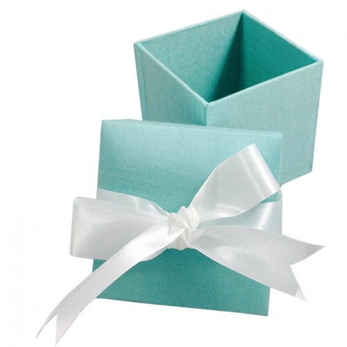 Satin Bow Embellished Light Blue Wedding Favor Box