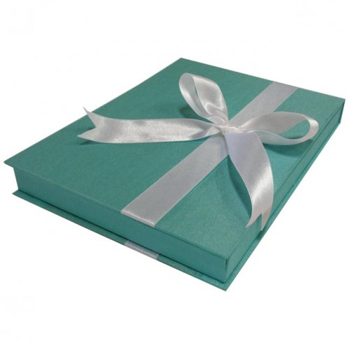 TIFFANY BLUE SILK WEDDING INVITATION BOX WHITE BOW