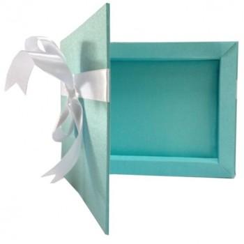 White bow embellished tiffany blue wedding invitation box