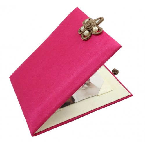 Opened silk photo frame in pink