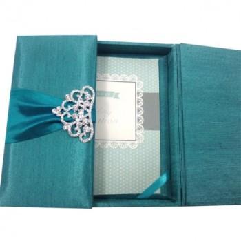 One door open view of silk invitation box